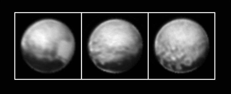 Three views of Pluto, captured  by New Horizons as it approaches Pluto between July 1 and July 3. The right panel shows four mysterious dark spots.