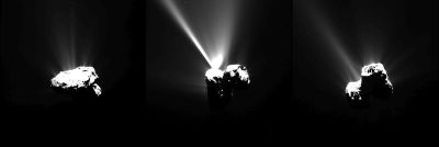 Series of images captured by ESA's Rosetta spacecraft showing gas jets emerging from comet Churyumov-Gerasimenko as it approached the sun.