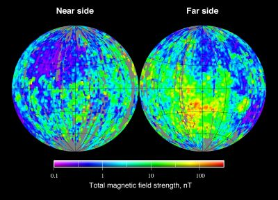 Lunar magnetic field strength map as measured by the Lunar Prospector mission.