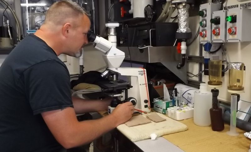 Research analyst Anthony Odell is studying the massive toxic algae bloom in the Pacific Ocean this summer, aboard the Bell M. Shimada, a NOAA research ship.