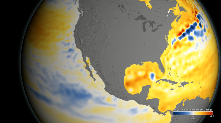 NASA Animation shows the wide variance in sea level rise in recent years. The pale coloration along the West Coast illustrates a lower rate of rise.