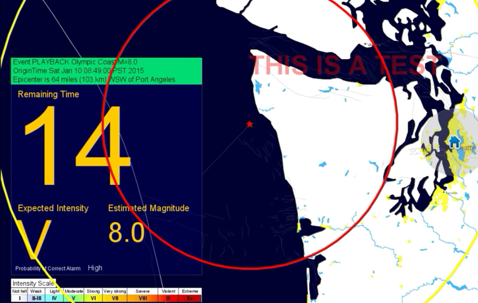 A test of the ShakeAlert system depicts a fictional 8.0 quake, with an estimate of shaking intensity and countdown until it starts.