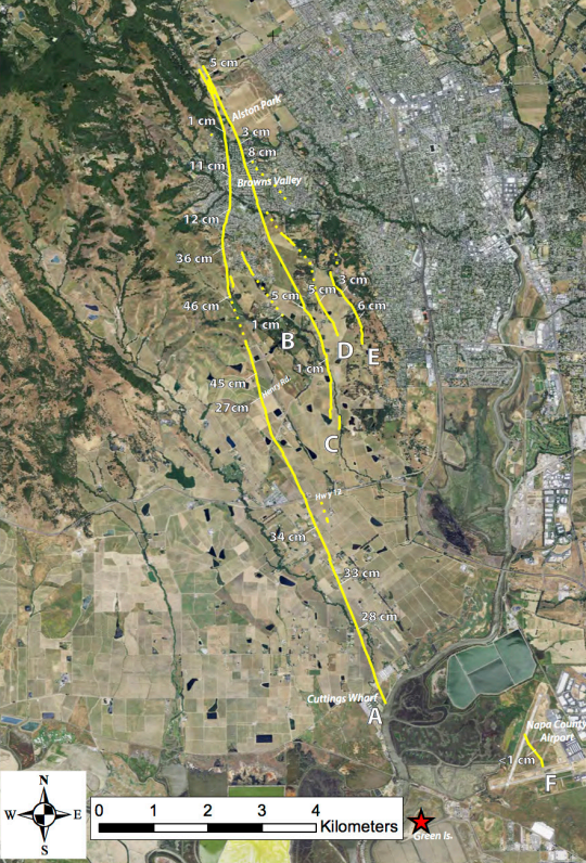 The red star marks the quake's epicenter in this USGS map, with solid yellow lines marking measurable surface faulting, including more than two months of afterslip.