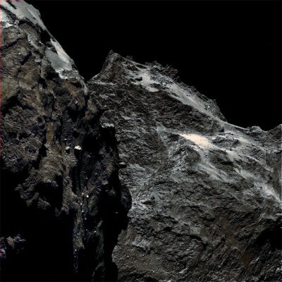 Image of the surface of comet 67P/Churyumov-Gerasimenko from a distance of 62 miles.