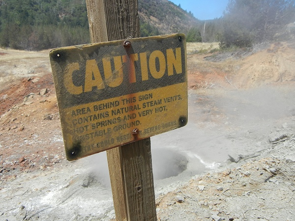 Sign at fumarole field