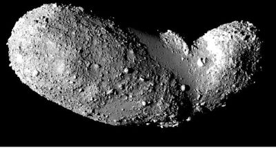 Asteroid Itokawa as imaged by the Hayabusa spacecraft.