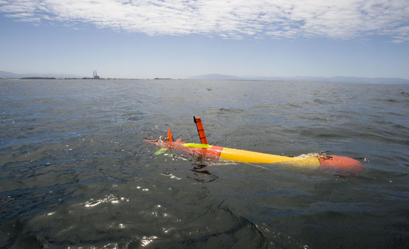 MBARI's long-range autonomous underwater vehicle  can remain at sea, unattended, for weeks at a time.