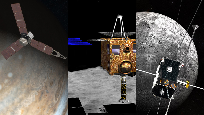 Artist illustrations of NASA's Juno, JAXA's Hayabusa, and NASA's twin ARTEMIS spacecraft.