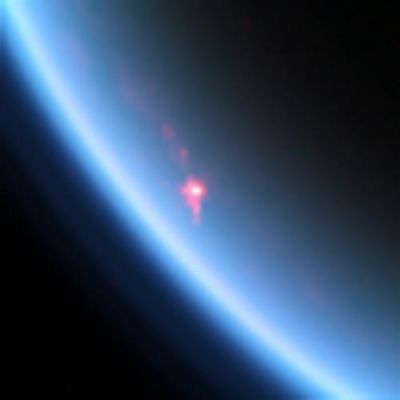 Sunlight flashing off of the surface of a lake of liquid hydrocarbons on Saturn's moon Titan.