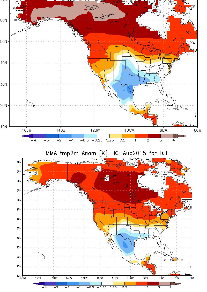 Side-by-side comparison of national vs. international multi-model ensemble forecast for winter 2015-2016. Both suggest above-average temperatures in California.