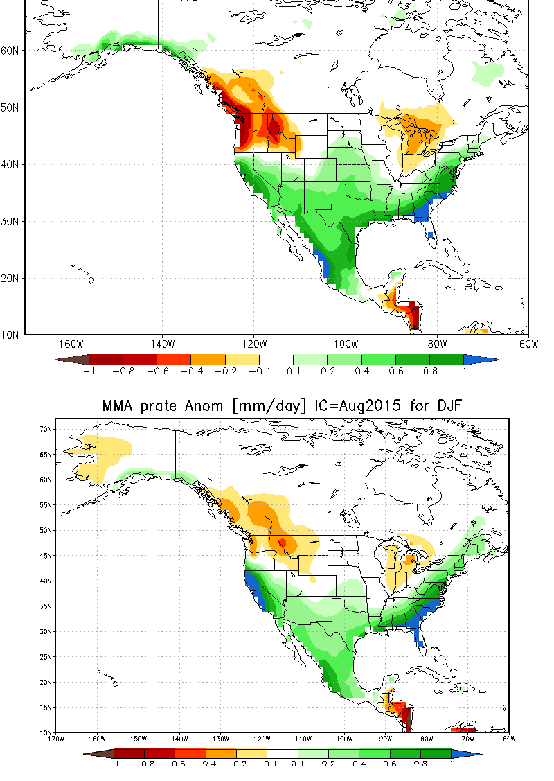 Side-by-side comparison of national vs. international multi-model ensemble forecast for winter 2015-2016. Both suggest above-average precipitation in California.
