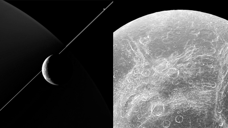 Saturn's moon Dione set against its mother planet's rings (left), and a closeup of chasms on Dione's surface captured by Cassini's August 17 close flyby.