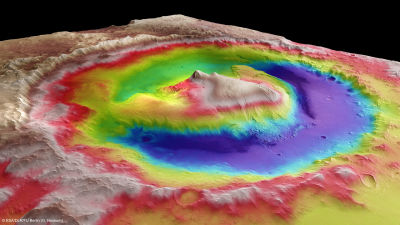 Three-dimensional model of Mars' Gale Crater, and the central mound of sediment named Mount Sharp, currently being explored by NASA's Curiosity rover.
