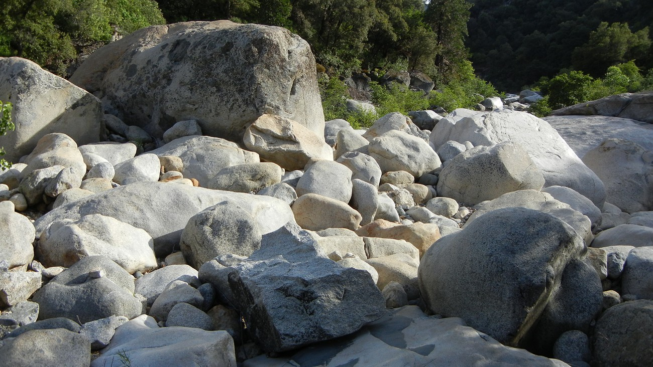 Boulders in a Sierra riverbed