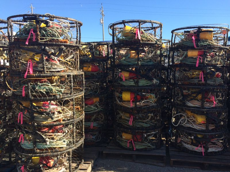 Hundreds of crab pots sit in Half Moon Bay, which  Geoff Bettencourt will deploy when the season starts November 14.