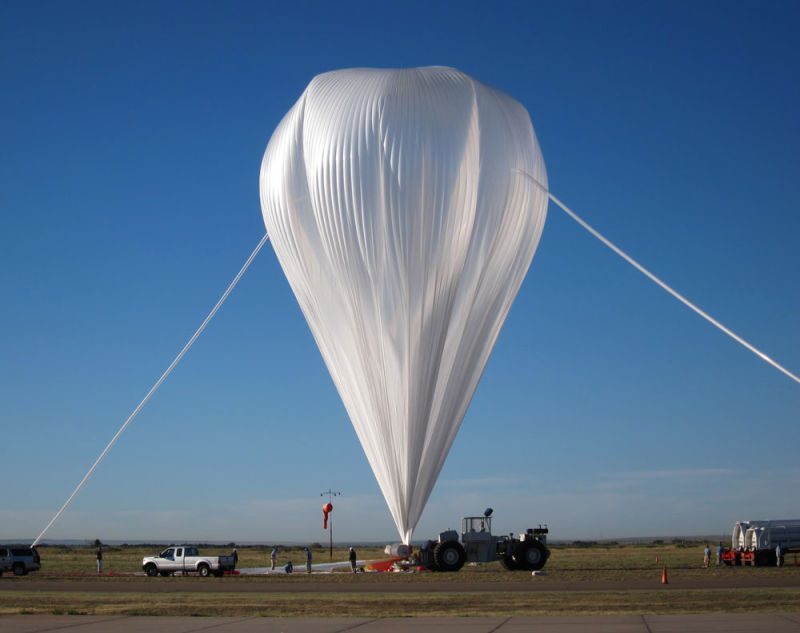 A balloon is inflated with helium, to carry E-MIST and its bacteria 23 miles up to the stratosphere.