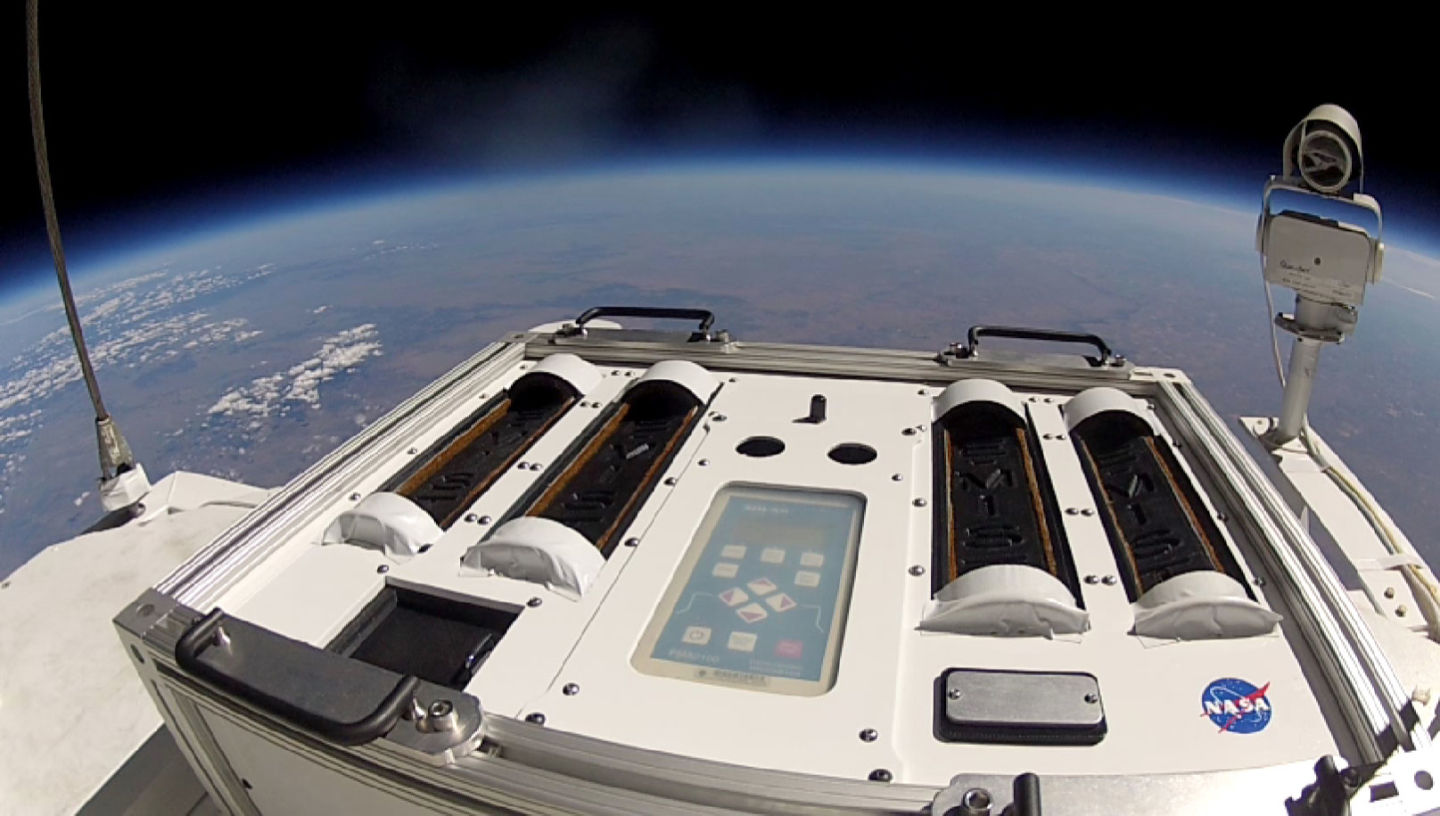Bacteria inside four canisters on NASA's E-MIST mission are exposed to the stratosphere.
