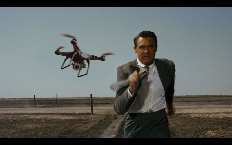 Cary Grant runs from a drone, in this North by Northwest takeoff created by Carl Weingarten.