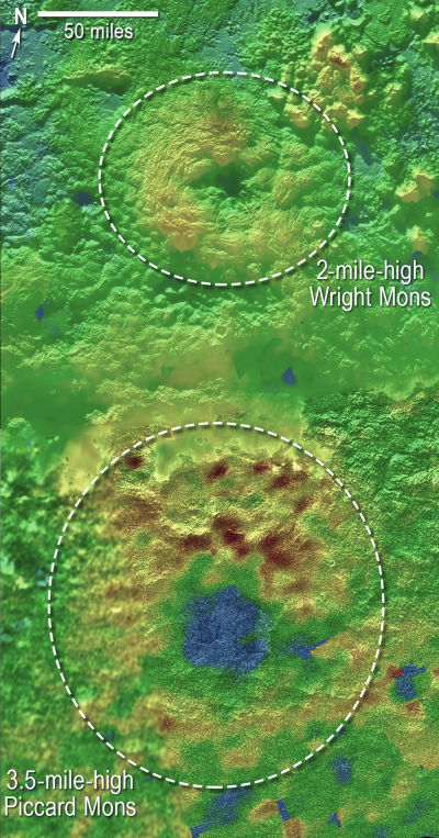 Wright Mons and Piccard Mons, two mountains on Pluto that may have been formed by eruptions of ices from beneath Pluto's surface.