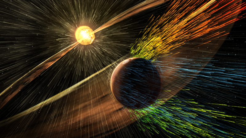Artist depiction of Mars' atmosphere being carried into space through interaction with the solar wind.