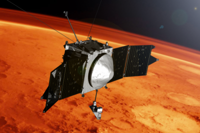 NASA's MAVEN spacecraft exploring the upper atmosphere of Mars.