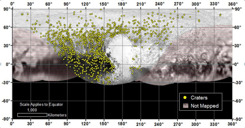 Map of Pluto showing the locations of impact craters. Heavily cratered regions are more ancient surfaces, while those with little or no cratering are relatively young.