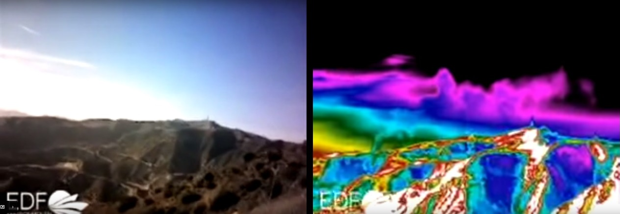 The methane pouring from the leak at the Aliso Canyon natural gas storage facility isn't visible to the naked eye (Left), but is seen here in an infrared photo (Right) as the green plume coming up from the hillside.