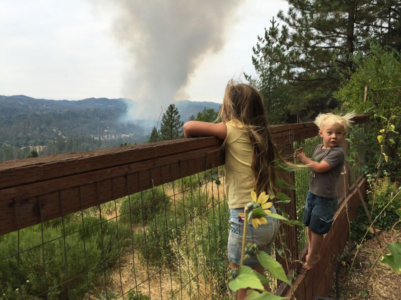 Jessica Pyska's two children watched the valley fire start, minutes before their parents realized they had to evacuate.