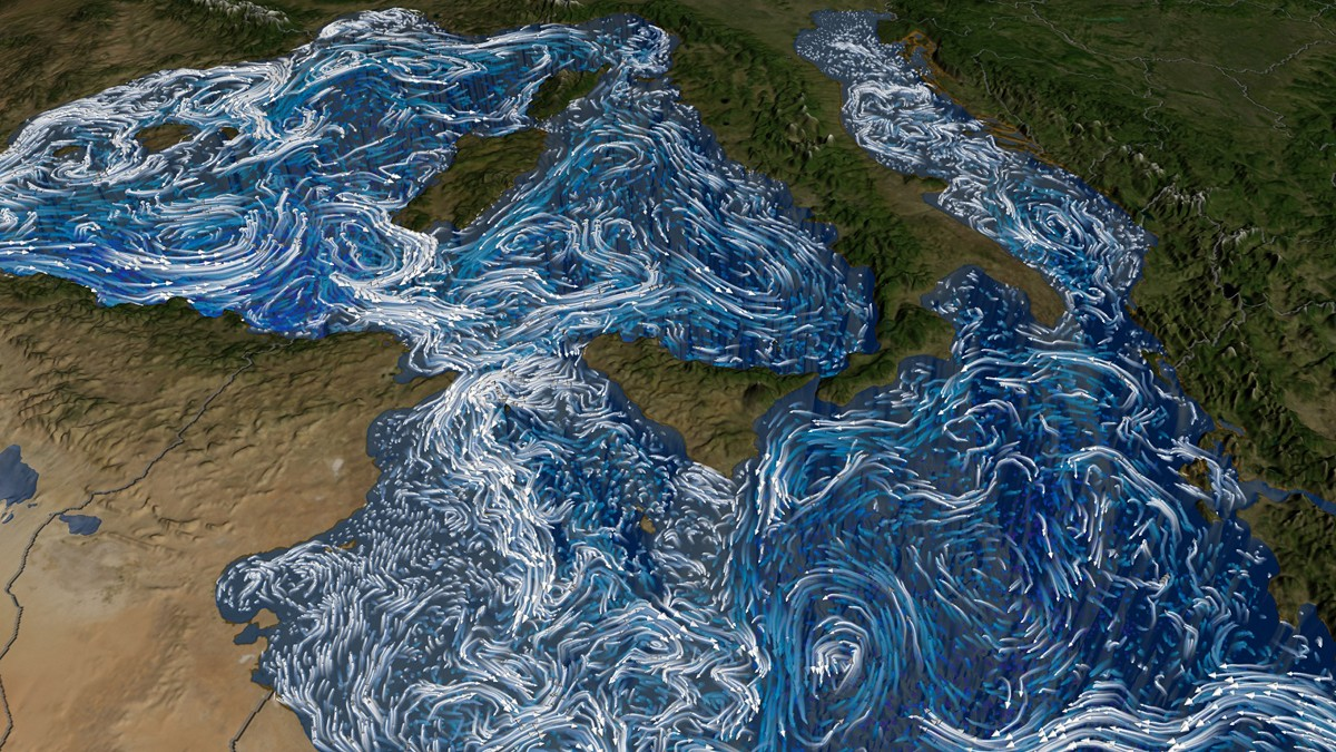 "Ocean currents in the Mediterranean Sea are visualized from satellite data. Such images, used in the ""Beautiful Earth"" performance by the Bella Gaia Ensemble, can communicate in ways not possible in a dry scientific paper."