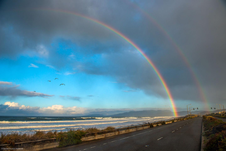 Double rainbow: A double rainbow spans Ocean Beach in San Francisco.