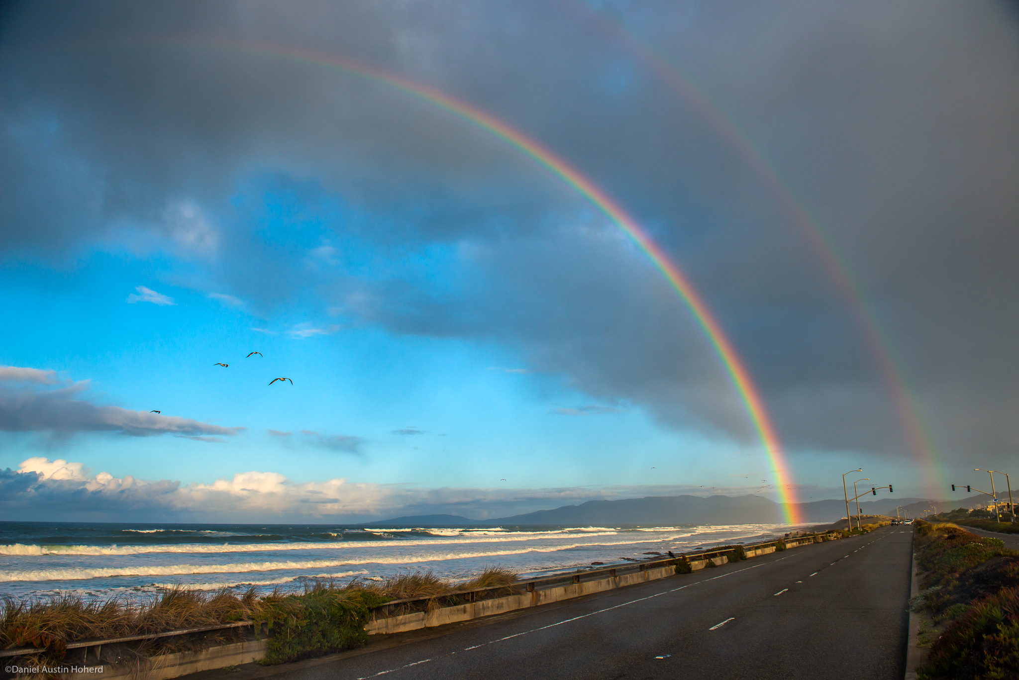 Double rainbow: A double rainbow spans Ocean Beach in San Francisco.