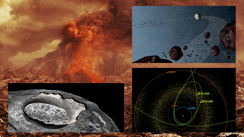 Subjects of possible exploration of the final contestants for NASA's Discovery program: Venus (background), the asteroid Psyche (lower left) , Jupiter's Trojan asteroids (upper right), and Near Earth Objects (lower right).