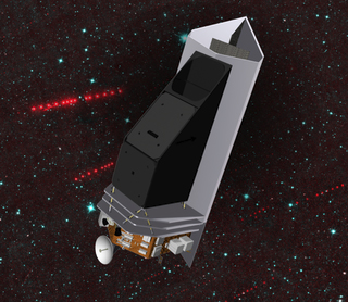 Artist concept of the Near-Earth Object hunting infrared telescope and wide-field camera, NEOCam.