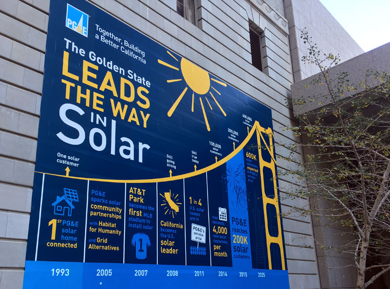 A banner hanging outside PG&E's San Francisco headquarters.