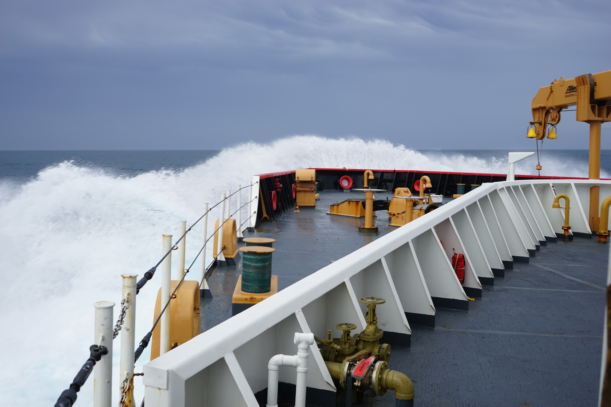 The Coast Guard icebreaker Polar Star takes on heavy seas as it crosses the Southern Ocean enroute to Antarctica.