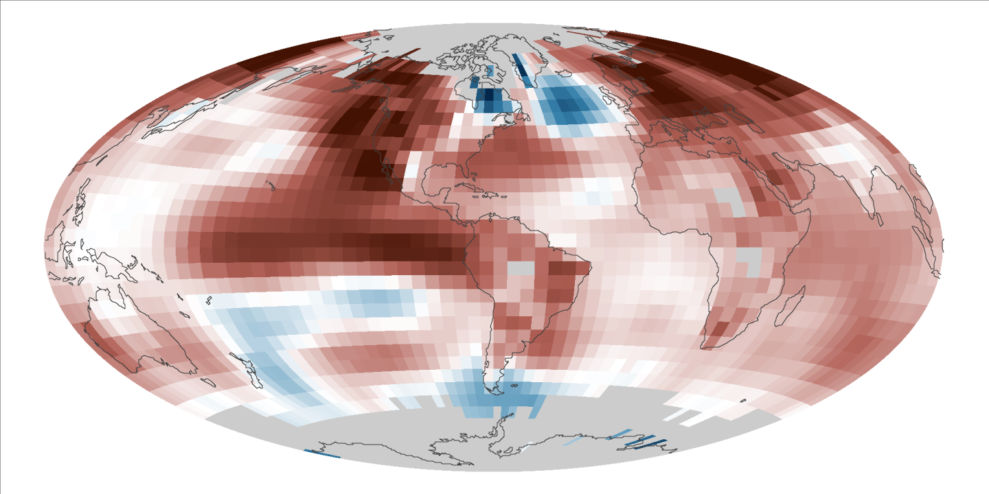 NASA map showing deviations from normal temperatures during 2015.