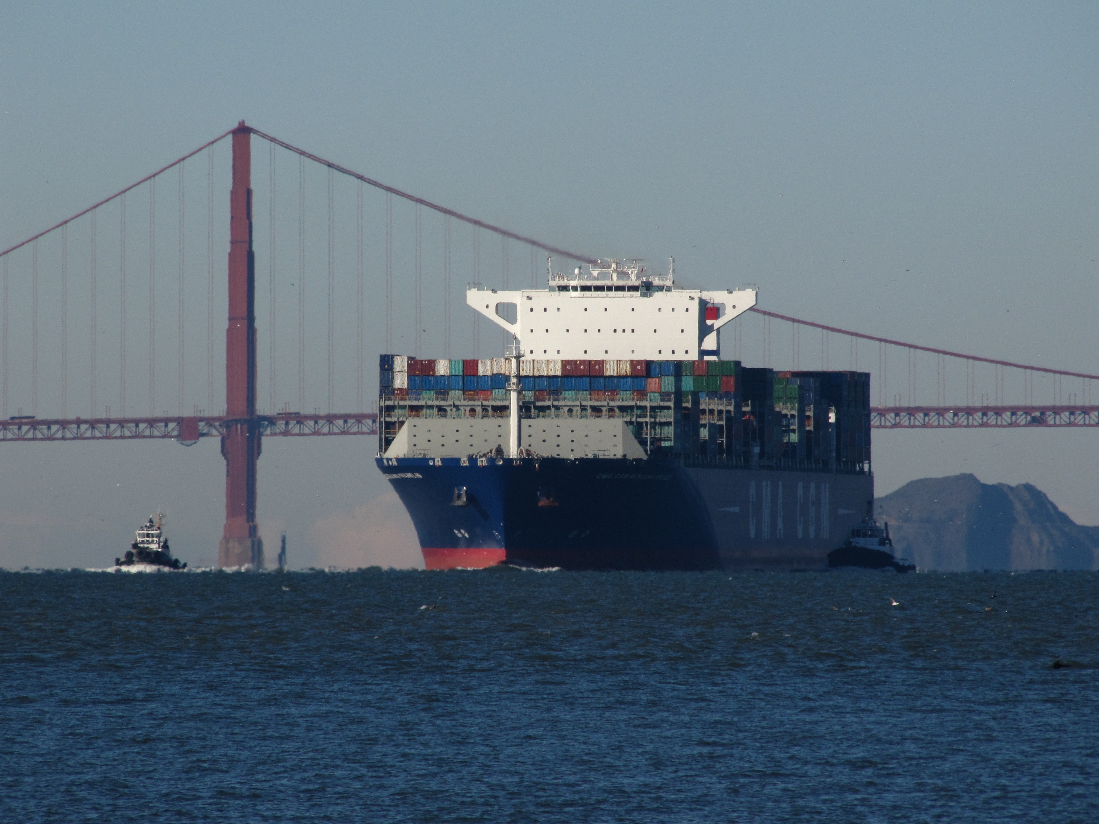 The Ultra-Large Container Ship Benjamin Franklin enters San Francisco Bay on December 31, 2015, the largest cargo ship ever to pass under the Golden Gate Bridge.