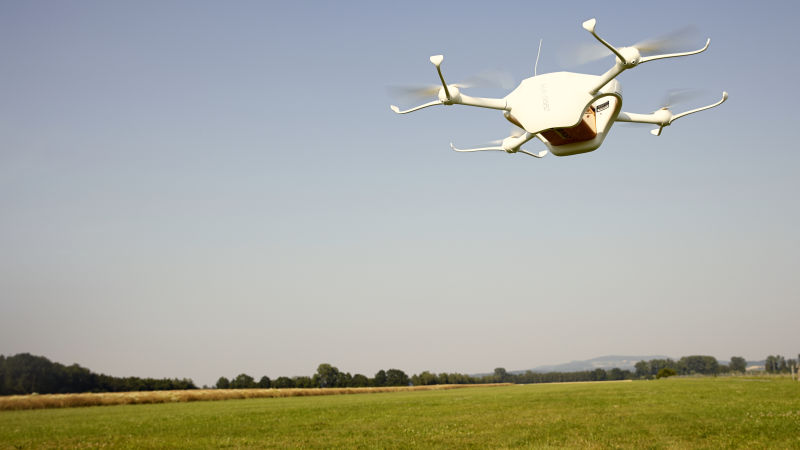 A drone built by Matternet on a test flight in Switzerland. Photo courtesy of Matternet.