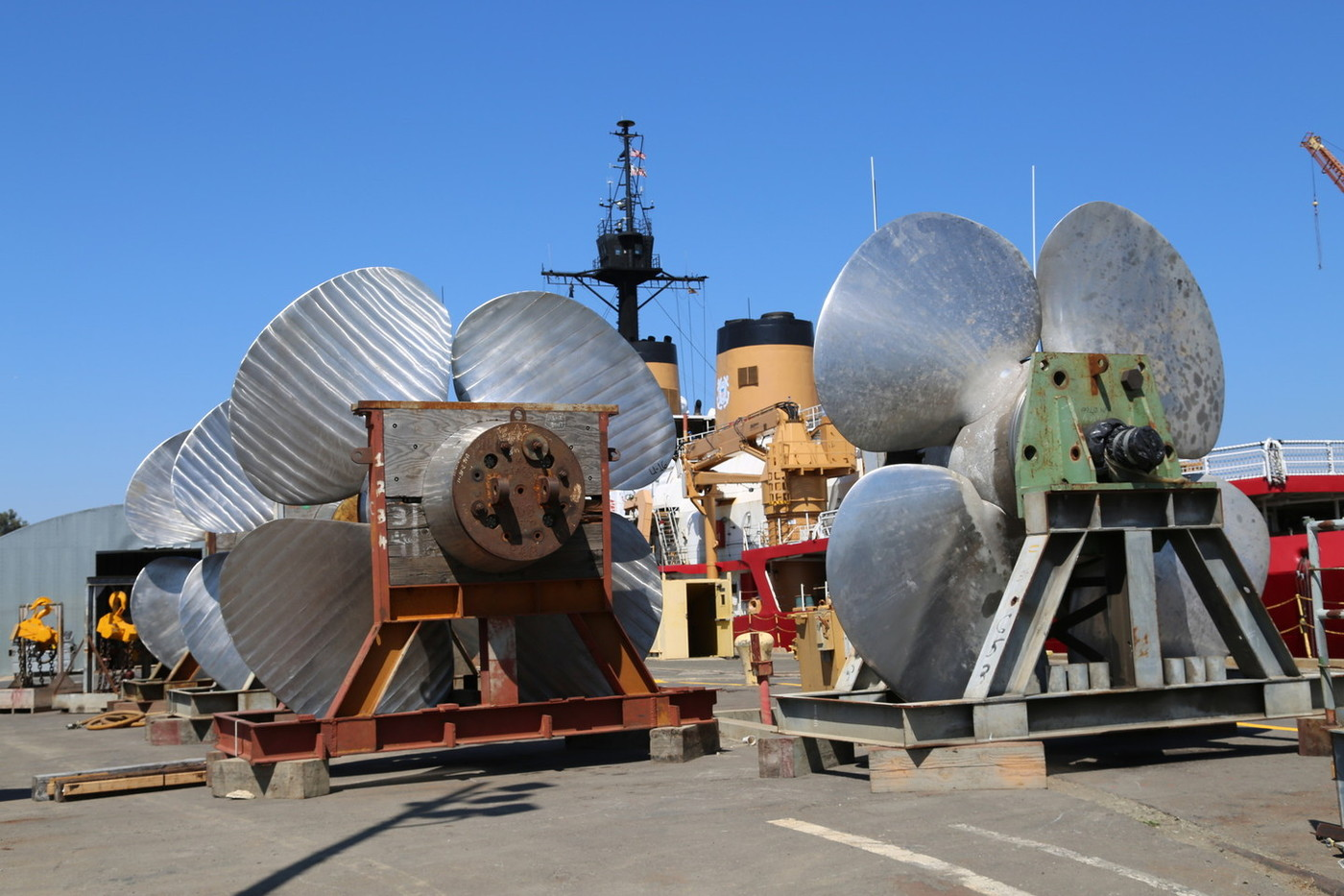 Polar Star's giant twin propellers, each 18 feet across, await installation at Vallejo's Mare Island shipyard in 2014.