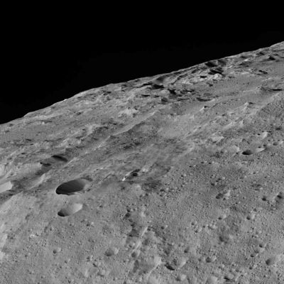 Close-up picture of a region of the southern hemisphere of the dwarf planet Ceres, captured by NASA's Dawn spacecraft from its closest encounter to date.