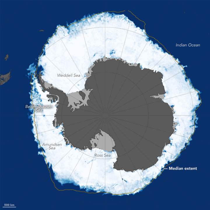 Sea ice around Antarctica reached its annual peak in October, 2015. The extent was a retreat from recent record highs.