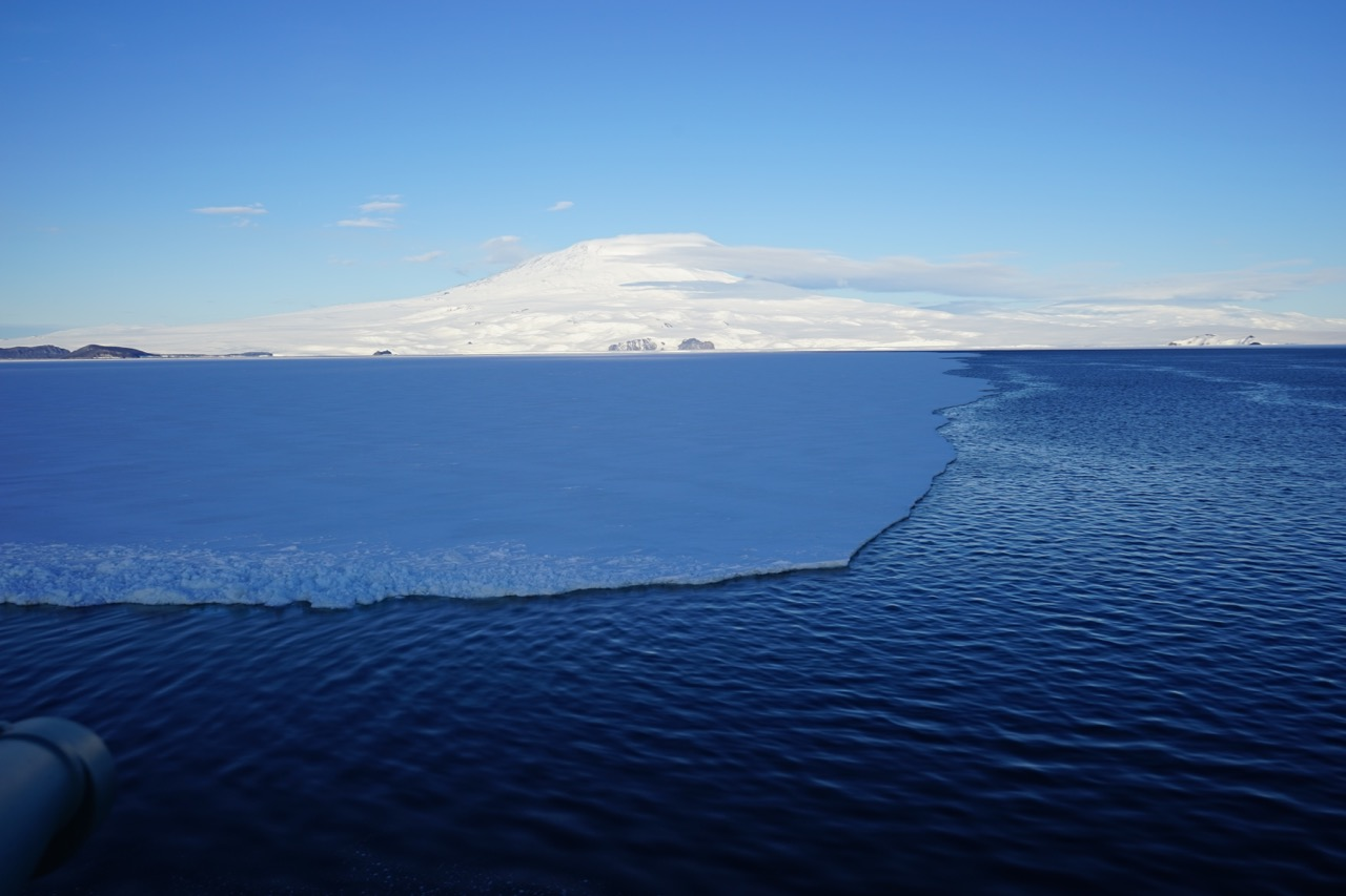 The fast ice breaks away from land all the way to Mt. Erebus and begins floating north.