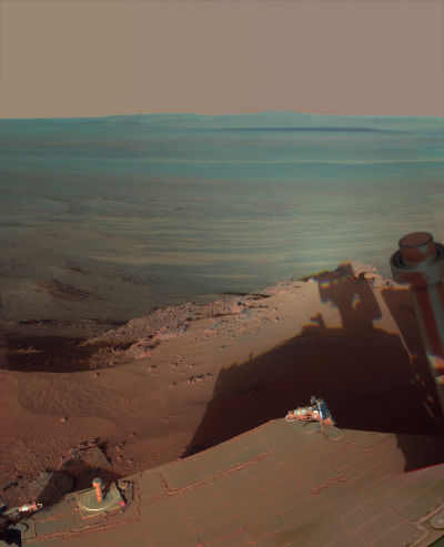 The rover Opportunity's selfie taken on the edge of the 14-mile wide Endeavor Crater