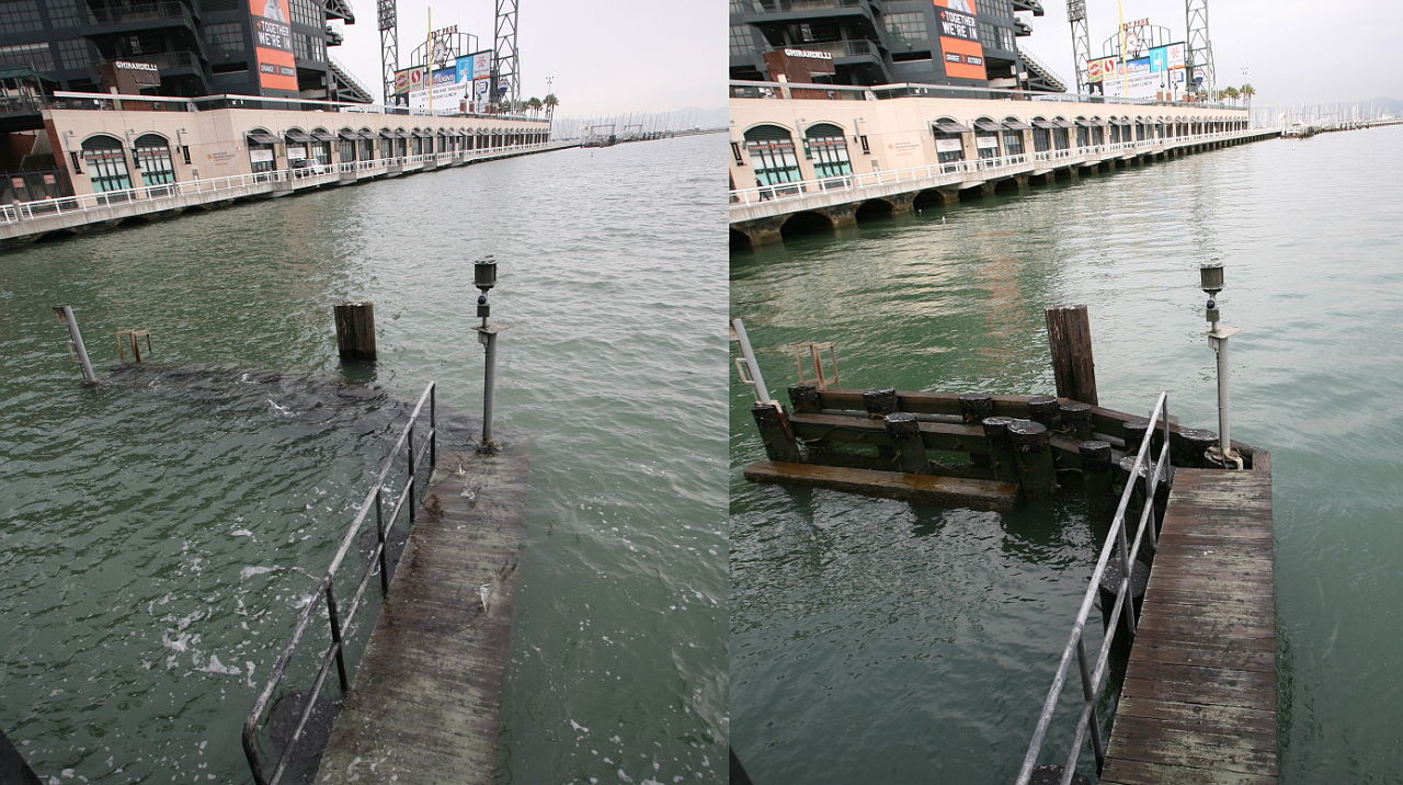 Flooding during (L) and after (R) a king tide outside AT&T Park in San Francisco.
