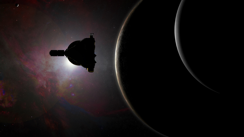 Artist concept of NASA's New Horizons spacecraft silhouetted with Pluto and its large moon Charon.