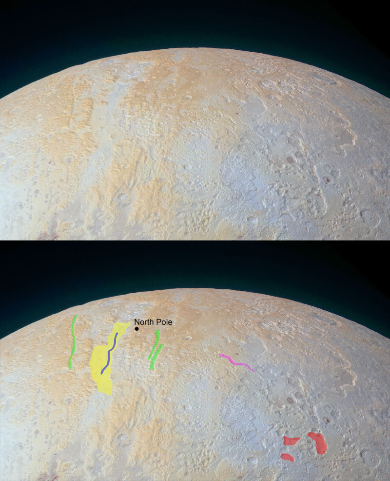 Pluto's ancient frozen canyons of its North Polar region.