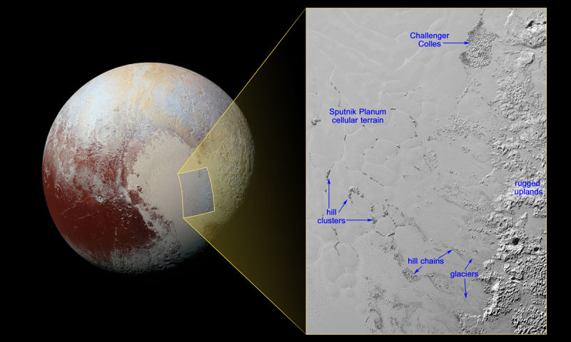 "Pluto's ""floating ice islands"" in the plains of Sputnik Planum."