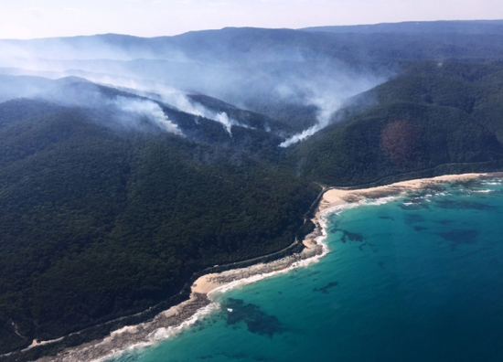 A wildfire burns along the Great Ocean Road in Victoria, Australia in December 2015.