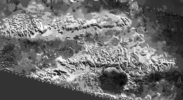 Radar image made by NASA's Cassini spacecraft of the Mithrim Montes range, where Titan's tallest peak is located.