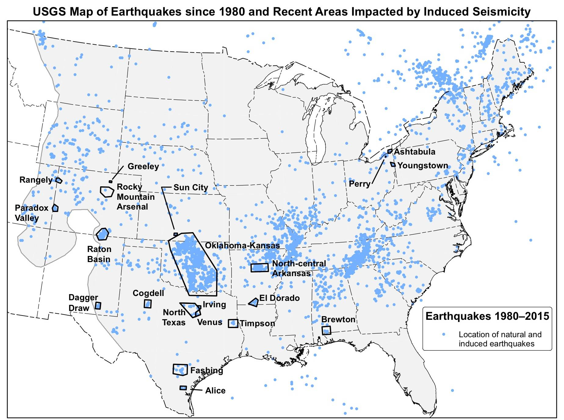 USGS map displaying 21 areas where scientists have observed rapid changes in seismicity that are associated with wastewater injection. The map also shows natural and induced earthquakes with a magnitude greater than or equal to 2.5.